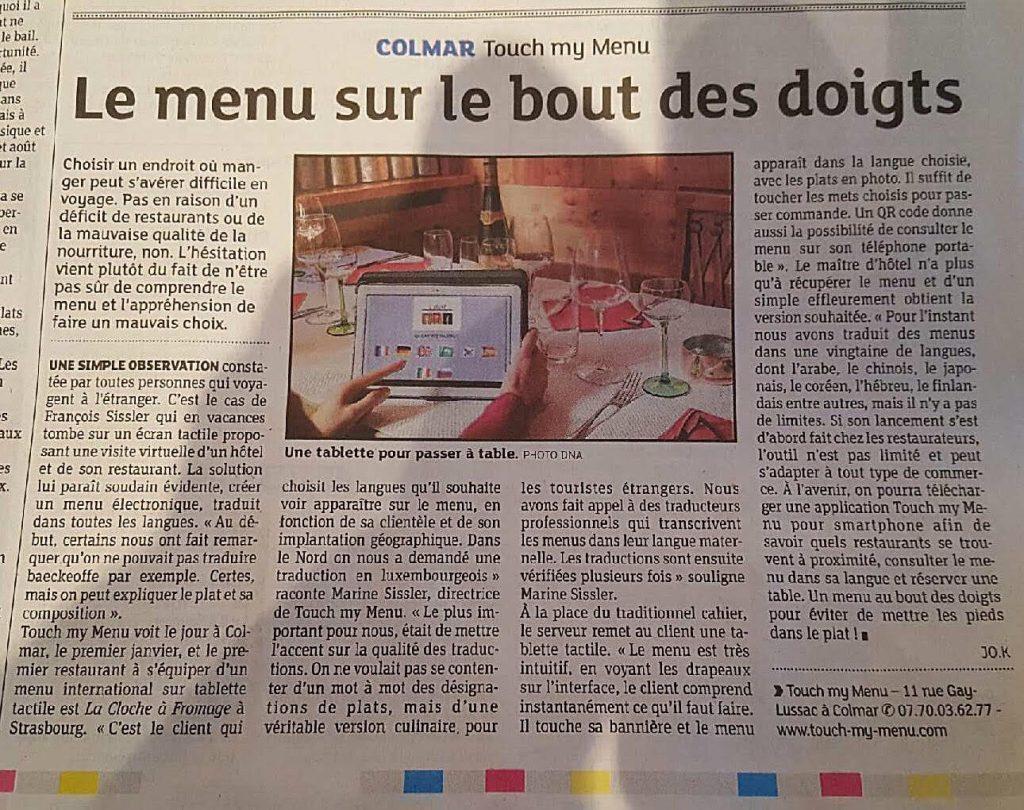 Article Toutch-my-menu, application d'aide à la prise de commande pour client étrangers